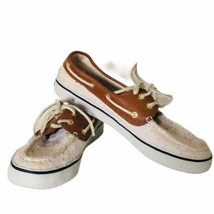 SPERRY TOPSIDER LEATHER BOAT SHOES WM SIZE 8M